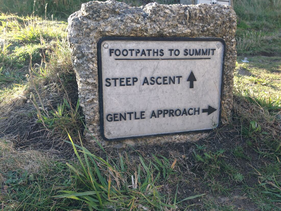 Sign showing two options - Steep route or gentle approach?